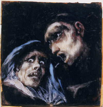 Francisco de Goya, 'Monk Talking to an Old Woman', 1824-1825