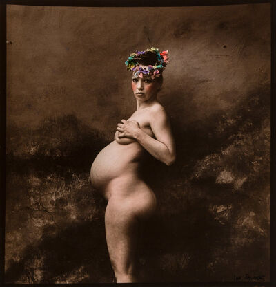 Jan Saudek, 'Untitled (Pregnant Woman in a Flower Crown)', 1983