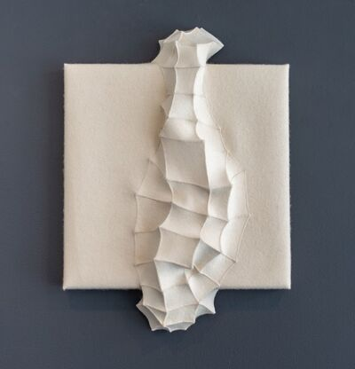Chung-Im Kim, 'Mutation 10 - small, white, geometrical, 3D, felt, fabric, biomorphic, wall art', 2016