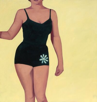 "T.S. Harris, '""Golden Girl"" oil painting of a woman in a vintage black swimsuit against a yellow backdrop', 2010-Present"