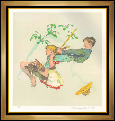Norman Rockwell, 'Norman Rockwell Original Color Lithograph Hand Signed The Swing Children Artwork', 1976