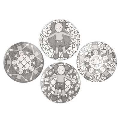 KAWS, 'Ceramic Plate Set (Grey) (Set of 4), 2019', 2019