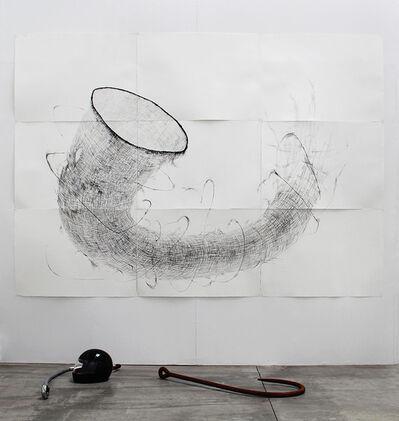 Matías Duville, 'Malla osamenta con casco, sal y anzuelos', 2015