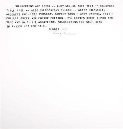 Andy Warhol, 'JFK Assassination: Flash Portfolio colophon ( FS II.41) hand signed and numbered by Andy Warhol,', 1968