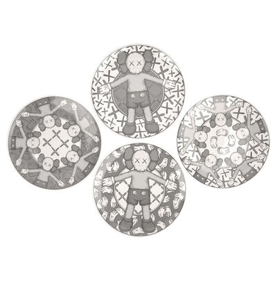 KAWS, 'Ceramic Plate Set (Grey) (Set of 4)', 2019
