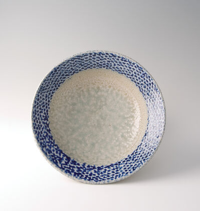 Tatsuzo Shimaoka, 'Bowl, rope and slip inlay with cobalt blue salt glaze'