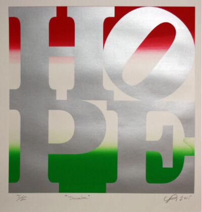 Robert Indiana, 'HOPE December (Silver over Red-White Pearl-Green)  ', 2015