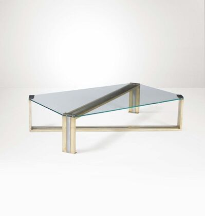 Romeo Rega, 'A low table with a brass and steel structure and glass top', 1970 ca.