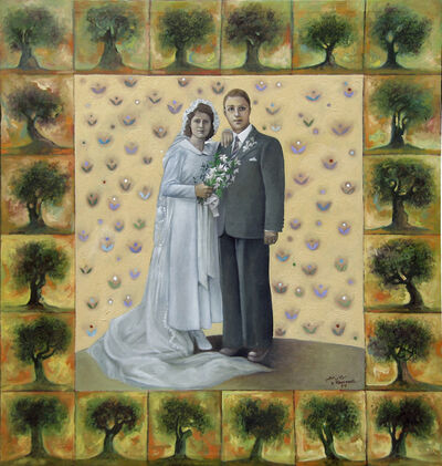 Sliman Mansour, 'Father and mother on their wedding day', 1984