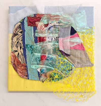 Jennifer Blalack, 'Shikaawa - Abstract Textile Work over Canvas with Yellow and Blue Fabric', 2019