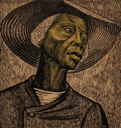 "Elizabeth Catlett, 'Sharecropper, alternatively titled ""Negro Woman,"" and ""Cosechadora de algodón""', c. 1952"