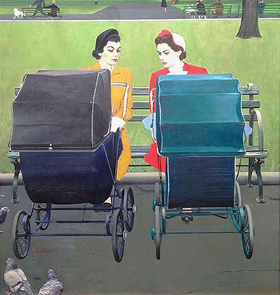 George Hughes, ' Two Women with Baby Carriages ', 1950