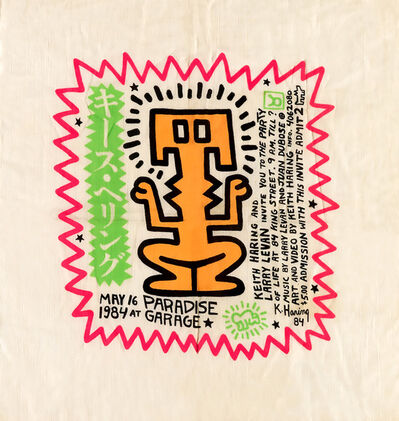 Keith Haring, 'Keith Haring Party of Life invitation Paradise Garage (Keith Haring Larry Levan) ', 1984