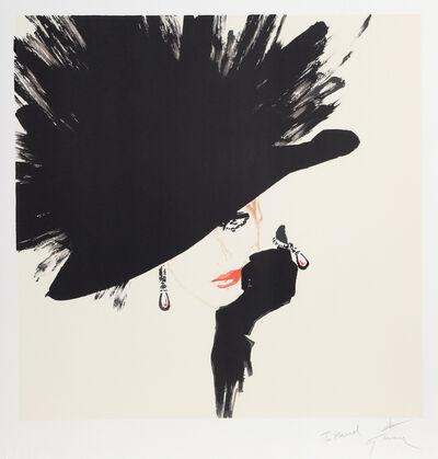 René Gruau, 'Woman in a Black Hat', ca. 1990