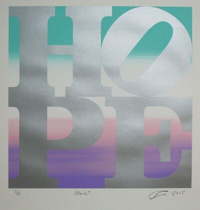 Robert Indiana, 'HOPE April (silver over aquamarine-pink-white-purple blend)     ', 2015