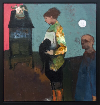 Jennifer Hornyak, 'Girl With Black Cat and Silver Moon', 2015