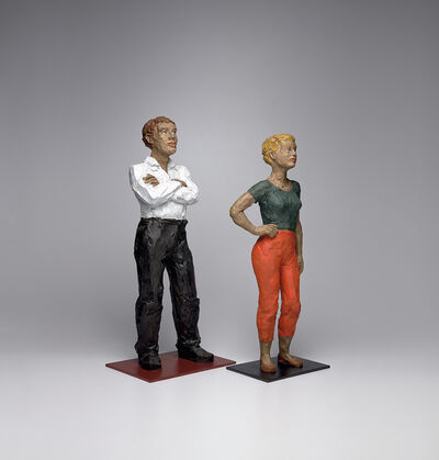 Stephan Balkenhol, 'Man in White Shirt; and Woman in Orange Pants with Hand on Hip', 2001
