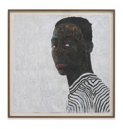 Amoako Boafo, 'Boy in a Black and White Stripe Shirt', 2018