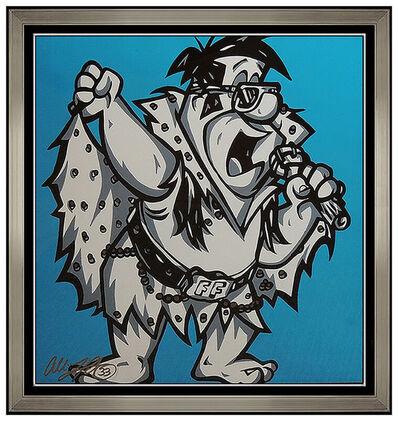 Allison Lefcort, 'Allison Lefcort Fred Flintstone ORIGINAL Acrylic Painting Signed Framed Artwork', 21st Century