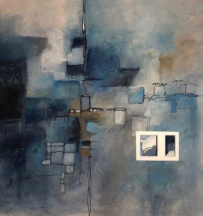 Cecilia Villanueva, 'Sketch for Housing at Plastic Beach, Atlantic Trash Vortex, blue, gray, white, aerial view, impossible architecture, maps, environmentalist, climate change', 2019