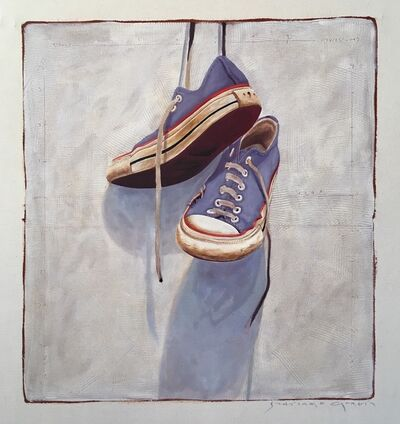 "Santiago Garcia, '""#1402"" photorealist oil painting of blue converse sneakers hanging by laces on gray background', 2019"