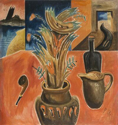 Franz Radziwill, 'Stillleben mit rotem Tisch und Pfeife', 1921