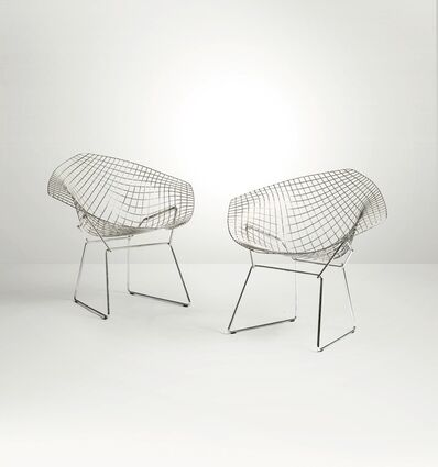 Harry Bertoia, 'A pair of Diamond chairs with a chromed metal structure and fabric upholstery', 1960 ca.