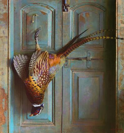 "Jeffrey T Larson, '""Pheasant on Blue Door""', 2018"