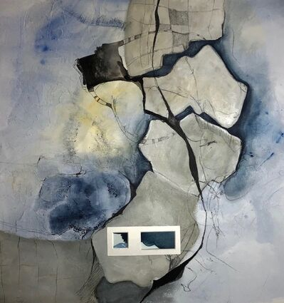 Cecilia Villanueva, 'Tectonic Plate Stabilizer, blue, gray, the earth from above, geology, impossible architecture, aerial view, environmentalist, climate change post modern art', 2019