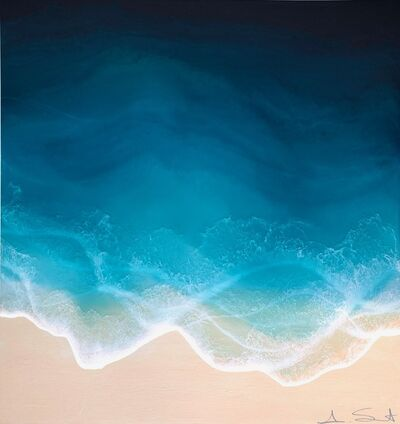 "Anna Sweet, '""Sea Spray"" mixed media painting of blue ocean waves from aerial view', 2019"