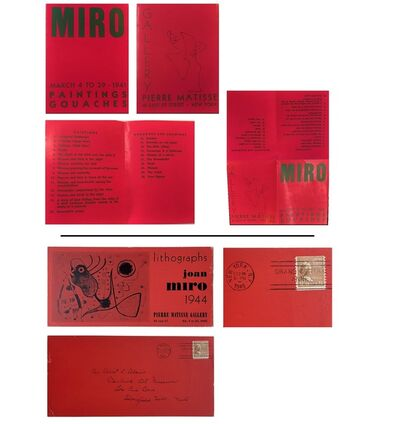 """Joan Miró, '2 PIECE SET- """"MIRO Paintings Gouaches"""" & """"Lithographs Joan Miro 1944"""", 1941 & 1945 Exhibition Invitations/Mailers, Pierre Matisse Gallery NYC', 1941 & 1945"""