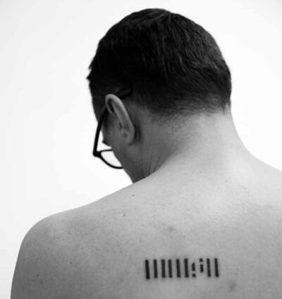Tolj Slaven, 'A tattoo of the logo of Rijeka`s Museum of Modern and Contemporary Art', 2013