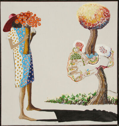 Benny Andrews, 'Woman with Flowers', 1976