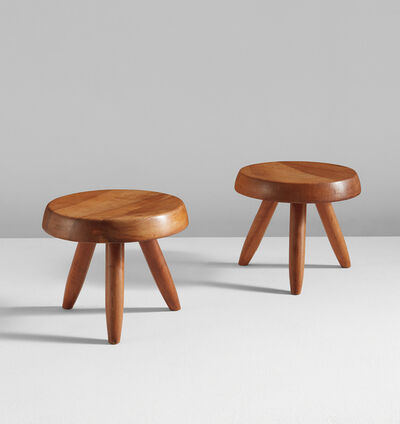 Charlotte Perriand, 'Pair of low tripod stools', 1950s