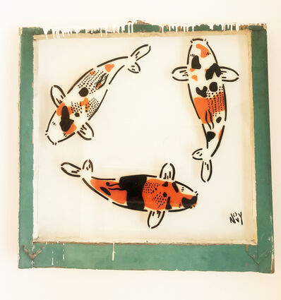Jeremy Novy, '3 Koi on Window in Green Frame', 2019