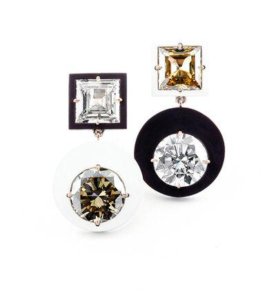 James de Givenchy, 'Diamond, Brown Diamond, Ceramic and 18k Rose Gold Ear Pendants'