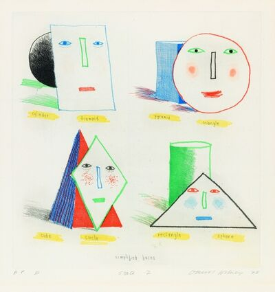 David Hockney, 'Simplified Faces State II', 1973