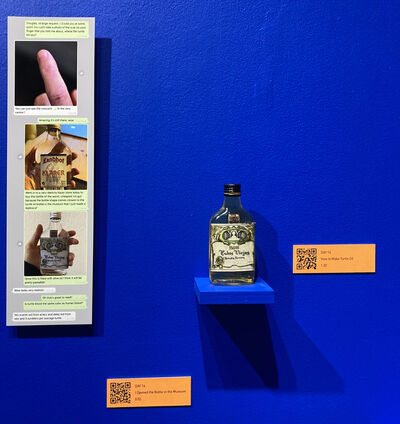 "Nina Katchadourian, 'Vignette #9: Turtle oil, Turtle oil text panel, Day 14: ""How to Make Turtle Oil"" audio, Day 14: ""I Opened the Bottle in the Museum"" audio', 2020"