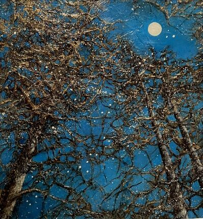 Christie Coker, 'Night Magic I - Sky, Trees, Moon, Metallic, Gold, Texture, Forest', 2020