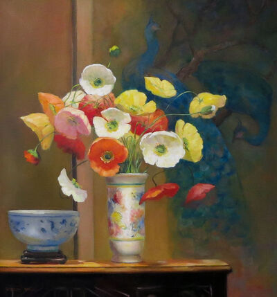 Jacqueline Fowler, 'Poppies with Peacocks'