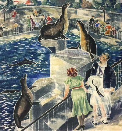 Virginia Bill, 'Seals in Central Park (NYC)', ca. 1940