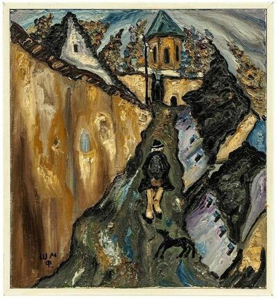 Myhaylo Shteinberg, 'Village Scene, Strolling Figure, Abstract Impressionist Painting', 20th Century
