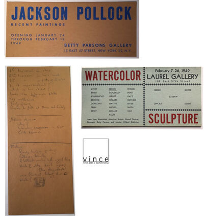 "Jackson Pollock, '2 PIECE SET- ""Jackson Pollock"", 1949, Invitation Card, Betty Parsons Gallery NYC  & ""Watercolor Sculpture"", 1949, Group Show Invite', 1949"