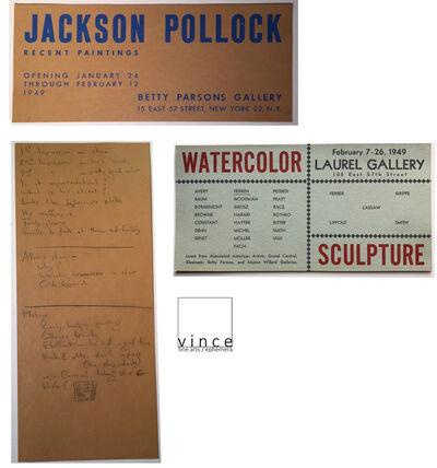 "Jackson Pollock, '2 PIECE SET- ""Jackson Pollock"", 1949, Invitation Card, Betty Parsons Gallery NYC  & ""Watercolor Sculpture"", 1949, Group Show Invite', 1949"