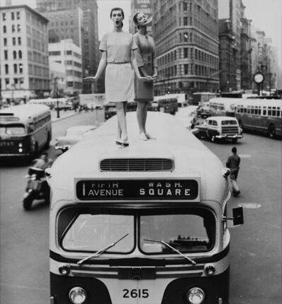 William Helburn, 'Bus Stop: Dovima and Jean Patchett, Madison Square, Harper's Bazaar', 1958