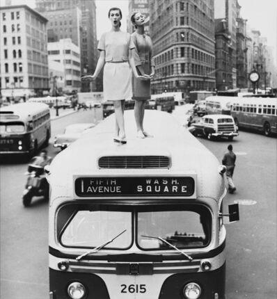William Helburn, 'Bus Top, Dovima and Jean Patchett for Harper's Bazaar, December 1958, Madison Square, New York, NY', 1958