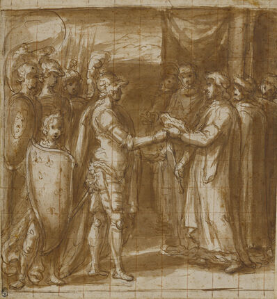 Taddeo Zuccaro, 'Cardinal Albornoz Gives the Farnese the Keys to Valentino', 1565