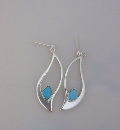 Katherine Marie Spahr, 'Berta Sterling Silver Earrings with Blue Turquoise Stones', 2000-2019
