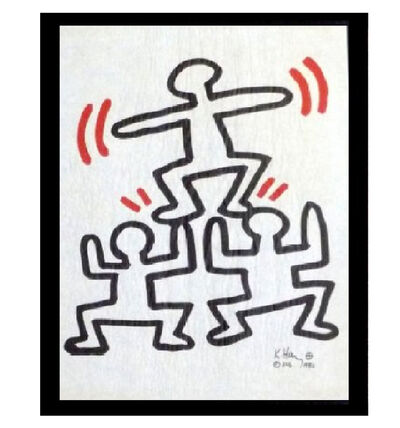 "Keith Haring, '""Three Men"", Bayer Suite, Sali-Adalat, Edition of 70, Offset Lithograph on Glassine Paper, Museum Quality.', 1982"
