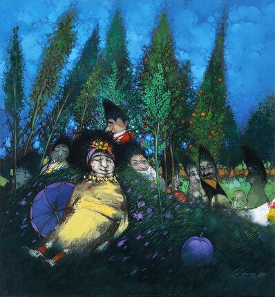 Pedro Pablo Oliva, 'Muchachas sentadas en un Campo de Lilas Floresidas', 1999